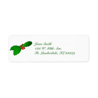 クリスマスのヒイラギの差出人住所ラベル 返信用宛名ラベル