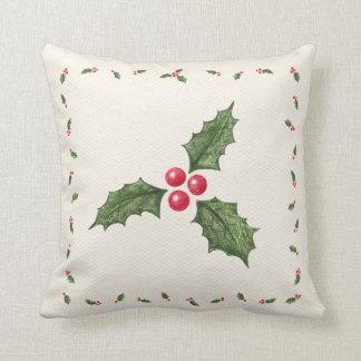 クリスマスのヒイラギの果実の枕 クッション