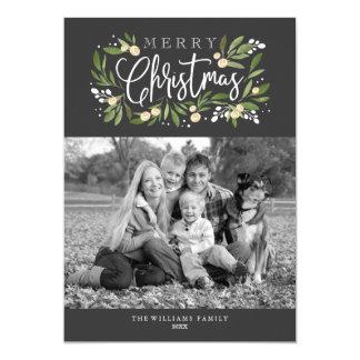 クリスマスのヒイラギ休日の写真カード カード