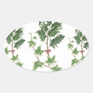 クリスマスのヒイラギ及びキヅタの小枝の植物のステッカー 楕円形シール