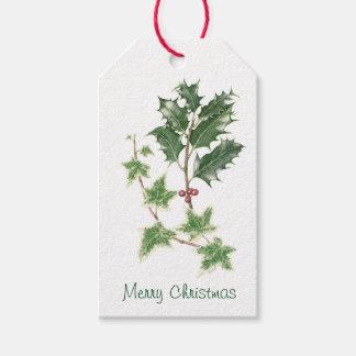 クリスマスのヒイラギ及びキヅタの小枝の植物の水彩画 ギフトタグ