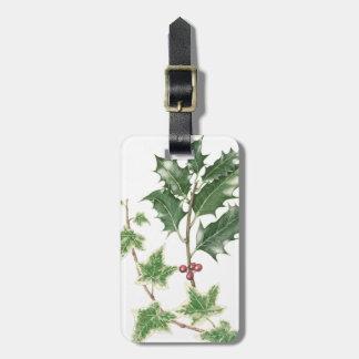 クリスマスのヒイラギ及びキヅタの小枝の植物の荷物のラベル ラゲッジタグ