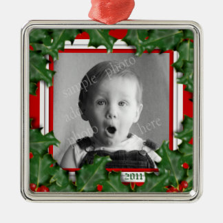 クリスマスのヒイラギ、写真フレーム、赤いリボンのオーナメント メタルオーナメント