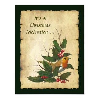 クリスマスのヒイラギ: 英語ロビンの小枝、羊皮紙 10.8 X 14 インビテーションカード
