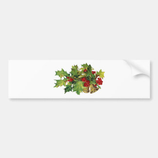 クリスマスのヒイラギ、MIsteltoeおよび真鍮の鐘 バンパーステッカー