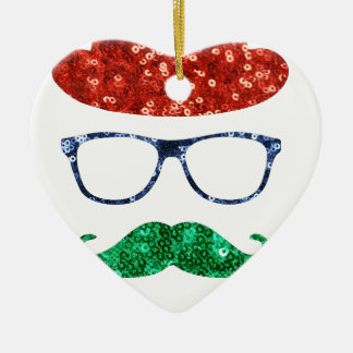 クリスマスのヒップスターの髭 セラミックオーナメント