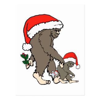 クリスマスのビッグフット家族 ポストカード