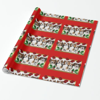 クリスマスのビーグル犬の子犬の赤い包装紙 ラッピングペーパー