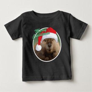 クリスマスのビーバー-ベビーの素晴らしいジャージーのTシャツ ベビーTシャツ