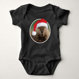 クリスマスのビーバー-赤ん坊のジャージーのボディスーツ ベビーボディスーツ