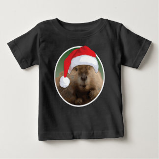 クリスマスのビーバー-赤ん坊の素晴らしいジャージーのTシャツ ベビーTシャツ
