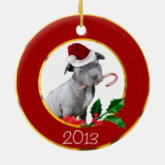 クリスマスのピットブルの子犬 セラミックオーナメント