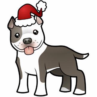 クリスマスのピットブル/アメリカ(犬)スタッフォードテリア 写真彫刻オーナメント