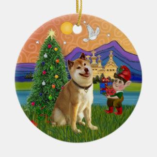 クリスマスのファンタジー-柴犬 セラミックオーナメント