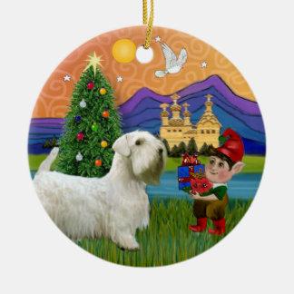 クリスマスのファンタジー- Sealyhamテリア セラミックオーナメント
