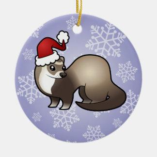 クリスマスのフェレット セラミックオーナメント