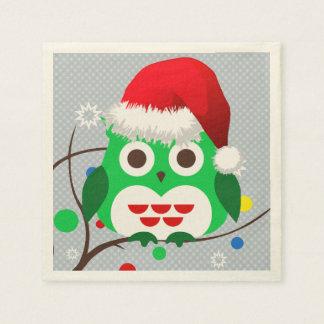 クリスマスのフクロウの傾向 スタンダードカクテルナプキン