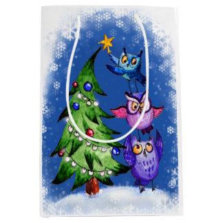 クリスマスのフクロウの木の装飾 ミディアムペーパーバッグ