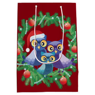 クリスマスのフクロウ家族 ミディアムペーパーバッグ