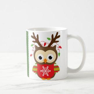 クリスマスのフクロウ コーヒーマグカップ