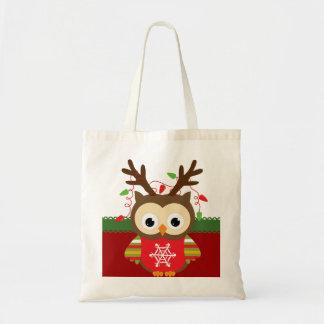 クリスマスのフクロウ トートバッグ