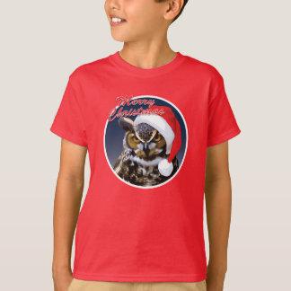 クリスマスのフクロウ-子供の基本的なHanesのTシャツ Tシャツ