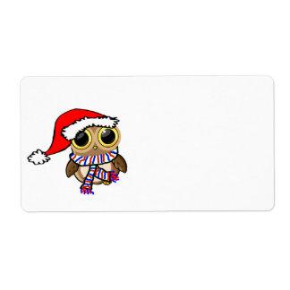 クリスマスのフクロウ 発送ラベル