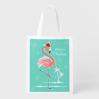 クリスマスのフラミンゴのメリークリスマスのエコバッグ エコバッグ