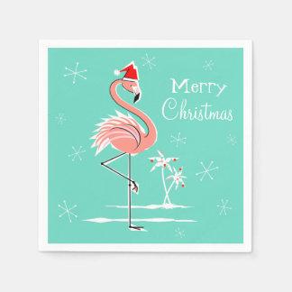 クリスマスのフラミンゴのメリークリスマスの紙ナプキン スタンダードカクテルナプキン