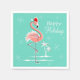 クリスマスのフラミンゴの幸せな休日の紙ナプキン スタンダードカクテルナプキン