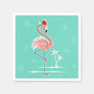 クリスマスのフラミンゴの紙ナプキン スタンダードカクテルナプキン