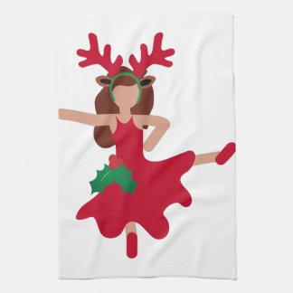 クリスマスのフラメンコのダンサーのemoji キッチンタオル