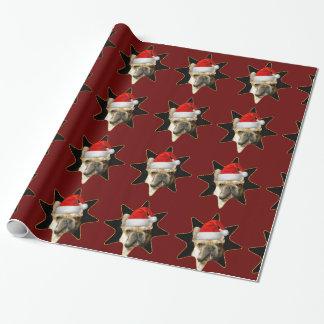 クリスマスのフレンチ・ブルドッグの包装紙 ラッピングペーパー