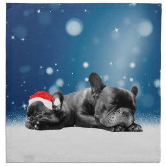 クリスマスのフレンチ・ブルドッグの子犬の雪のサンタの帽子 ナプキンクロス