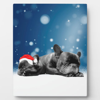 クリスマスのフレンチ・ブルドッグの子犬の雪のサンタの帽子 フォトプラーク