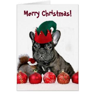 クリスマスのフレンチ・ブルドッグの挨拶状 カード