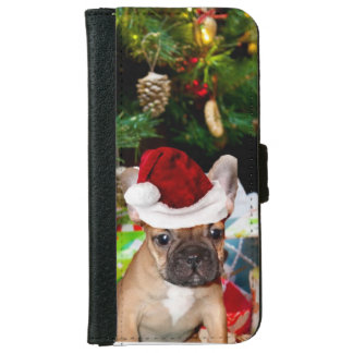 クリスマスのフレンチ・ブルドッグのiPhone 6の札入れの箱 iPhone 6/6s ウォレットケース