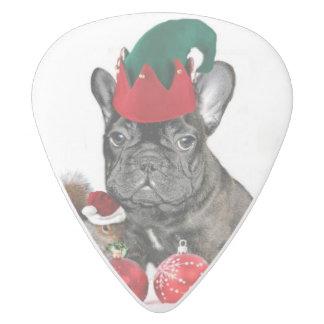 クリスマスのフレンチ・ブルドッグ犬のギターの一突き ホワイトデルリン ギターピック