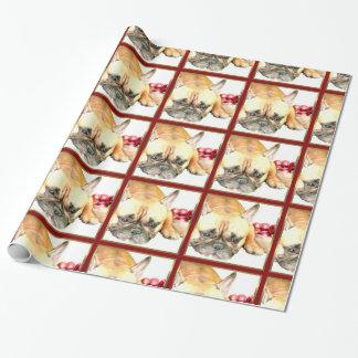 クリスマスのフレンチ・ブルドッグ犬の包装紙 ラッピングペーパー