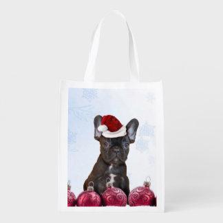 クリスマスのフレンチ・ブルドッグ エコバッグ
