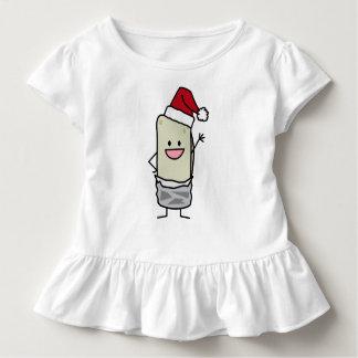 クリスマスのブリトーの振るこんにちはのサンタの帽子の休日 トドラーTシャツ