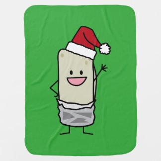 クリスマスのブリトーの振るこんにちはのサンタの帽子の休日 ベビー ブランケット