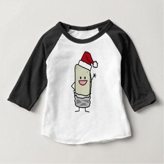 クリスマスのブリトーの振るこんにちはのサンタの帽子の休日 ベビーTシャツ