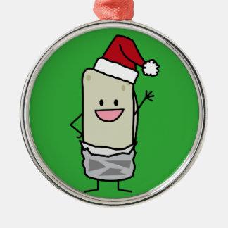 クリスマスのブリトーの振るこんにちはのサンタの帽子の休日 メタルオーナメント