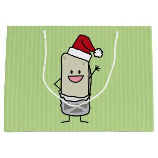 クリスマスのブリトーの振るこんにちはのサンタの帽子の休日 ラージペーパーバッグ