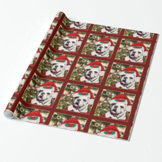 クリスマスのブルドッグのギフトの包装紙 ラッピングペーパー