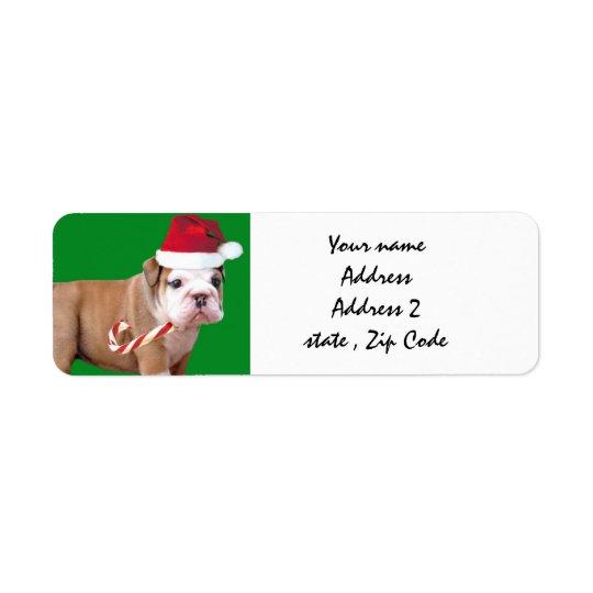 クリスマスのブルドッグの出荷ラベル 返信用宛名ラベル