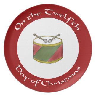 クリスマスのプレートのストライプのなドラム第12日 プレート