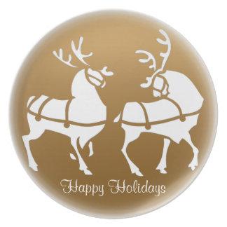 クリスマスのプレートは休日のトナカイのプレートを個人化します プレート