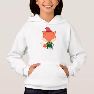 クリスマスのベビーのキツネの女の子のフード付きスウェットシャツ